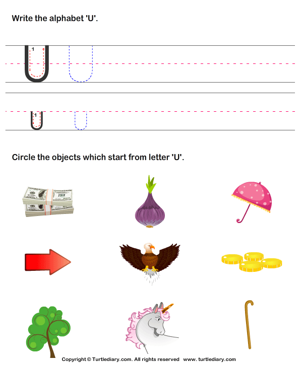 words that start with the letter u identify words that start with u worksheet turtle diary 25739 | identify words that start with u