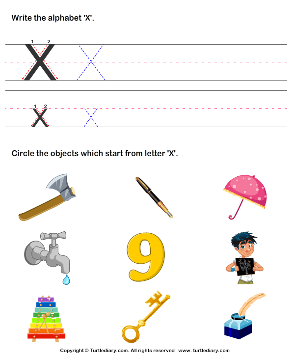 Worksheets Pictures That Start With X identify words that start with x worksheet turtle diary for letters a z