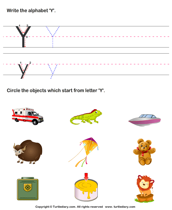 identify words that start with y worksheet - turtle diary