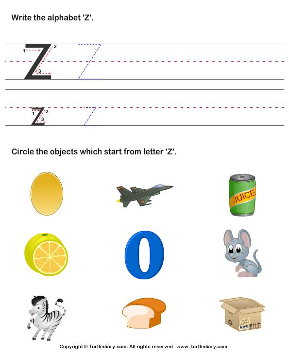 Identify Words That Start With Z Worksheet