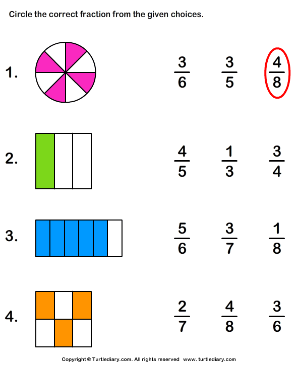 Identifying Fractions Worksheet - Turtle Diary