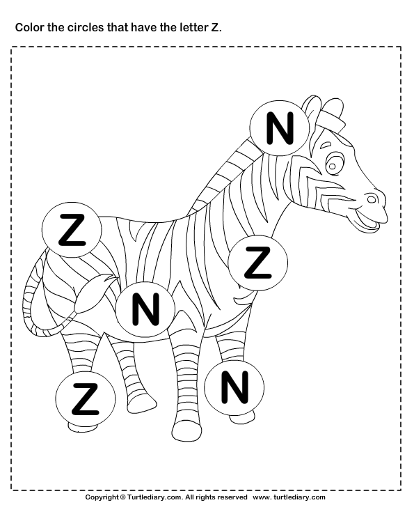Identifying Letter Z Worksheet Turtle Diary – Letter Z Worksheet