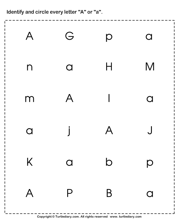 identifying lowercase and uppercase letter a worksheet turtle diary. Black Bedroom Furniture Sets. Home Design Ideas