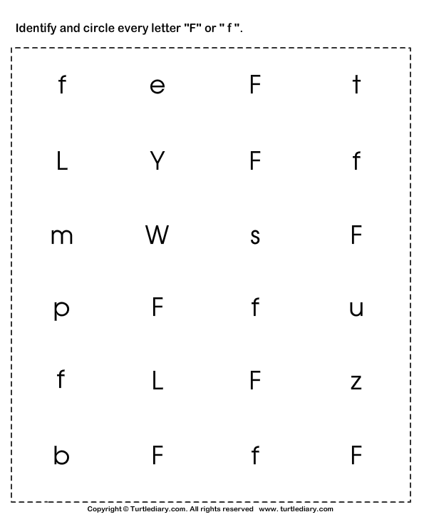 Identifying Lowercase And Uppercase Letter F Worksheet Turtle Diary