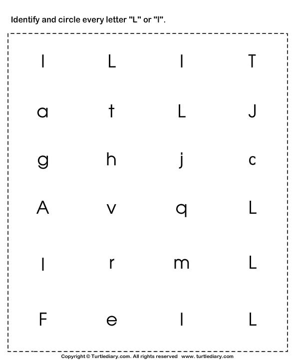 Letter l tracing worksheet