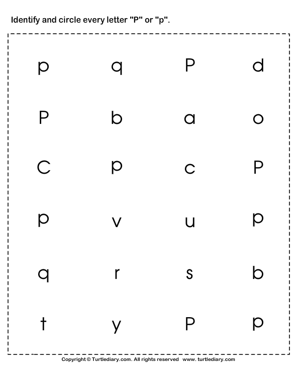 Identifying Lowercase and Uppercase Letter P Worksheet Turtle Diary – Letter P Worksheets