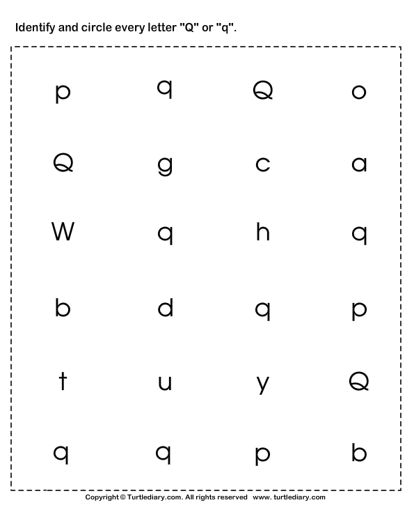 Identifying Lowercase and Uppercase Letter Q Worksheet Turtle Diary – Letter Q Worksheets