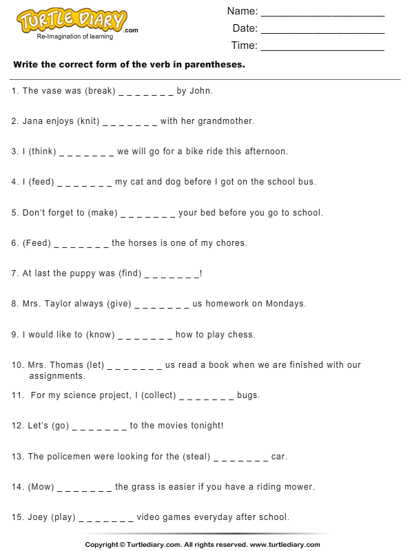 Write the Correct Form of Verb