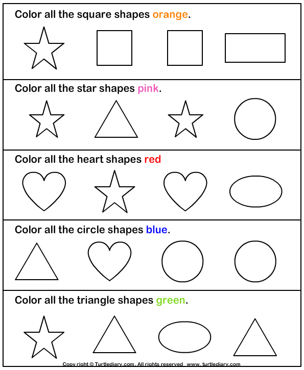 learning colors and shapes worksheet turtle diary. Black Bedroom Furniture Sets. Home Design Ideas