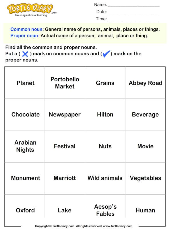 Identify Common and Proper Nouns