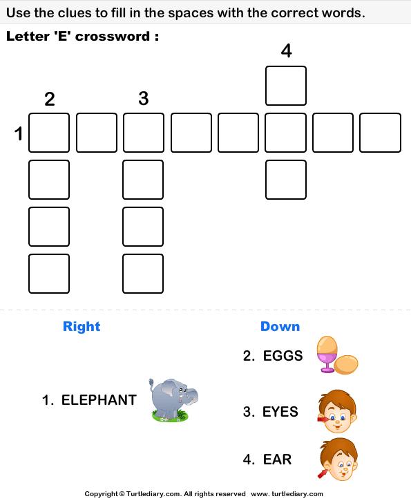 Alphabet Crossword Worksheet - Turtle Diary