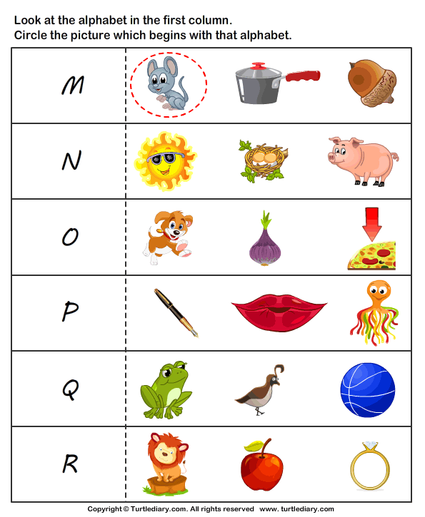 Letter Sounds M To R Worksheet Turtle Diary