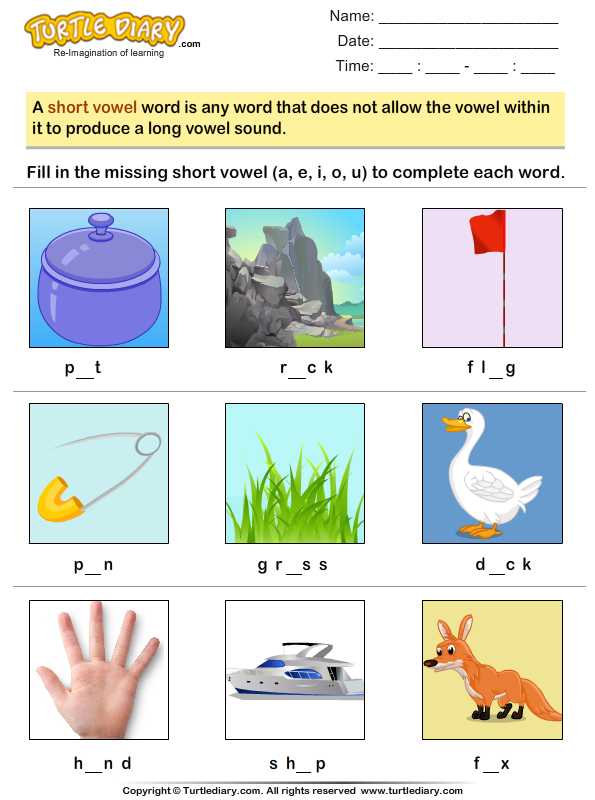 Look At Pictures And Identify Short Vowel Sound Worksheet Turtle Diary