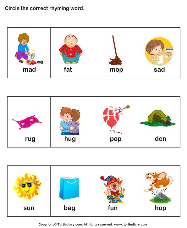 math worksheet : identify rhyming words worksheet  identify rhyming words  : Kindergarten Rhyming Worksheets