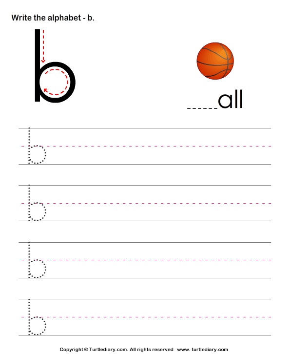 Lowercase Alphabet Writing Practice B Worksheet - Turtle Diary
