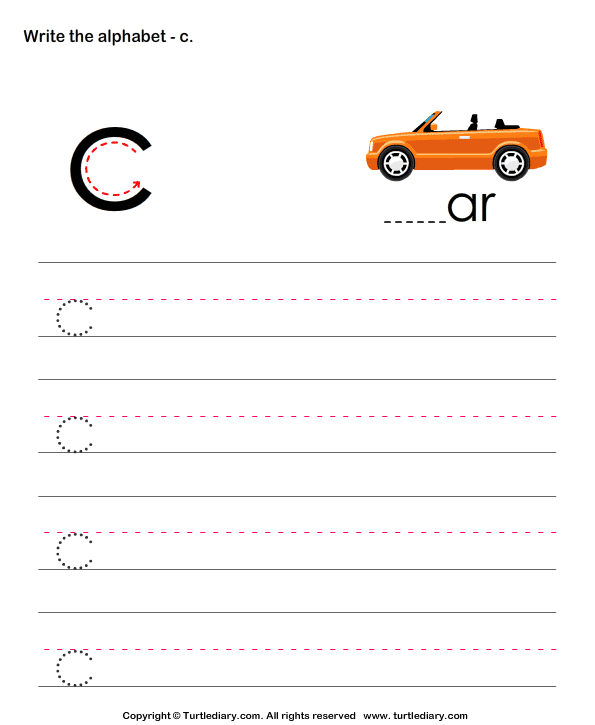Lowercase Alphabet Writing Practice C Worksheet - Turtle Diary