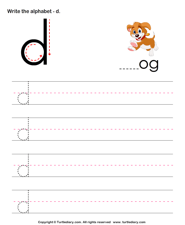Lowercase Alphabet Writing Practice D Worksheet Turtle Diary – Alphabet Practice Worksheets