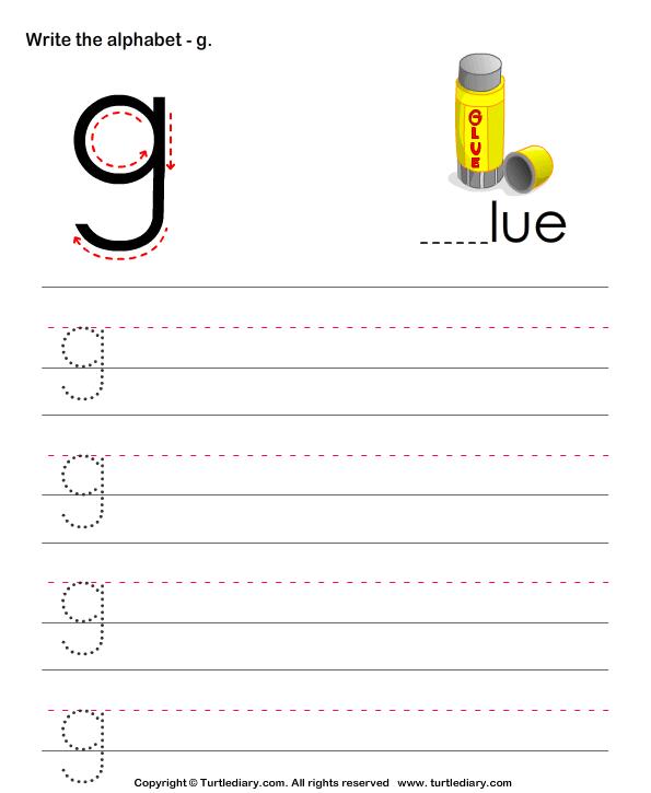 Lowercase Alphabet Writing Practice G Worksheet - Turtle Diary