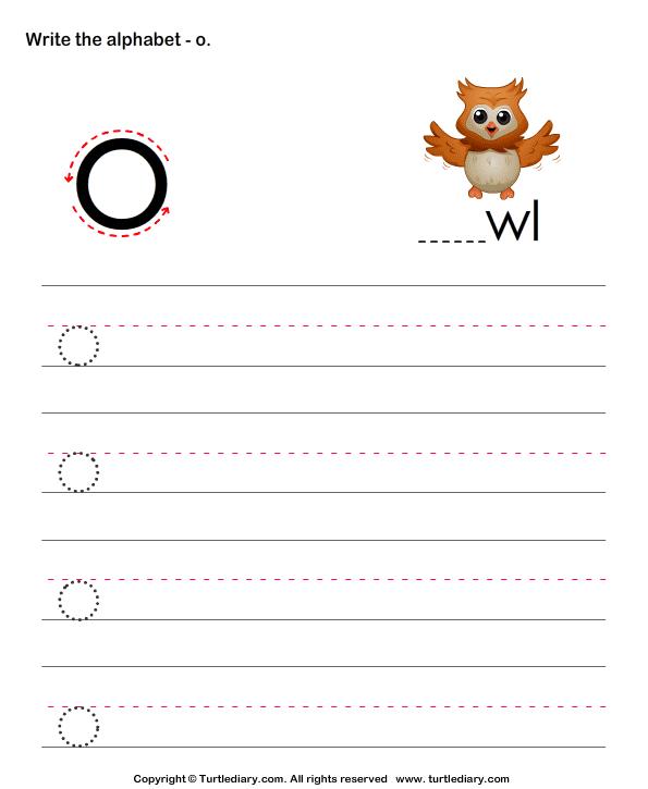 Lowercase Alphabet Writing Practice O Worksheet - Turtle Diary