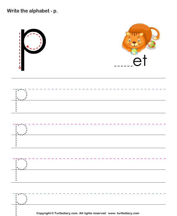 lowercase alphabet writing practice p worksheet turtle diary. Black Bedroom Furniture Sets. Home Design Ideas