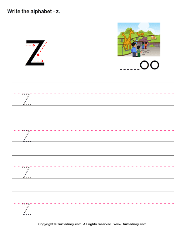 Lowercase Alphabet Writing Practice Z Worksheet - Turtle Diary