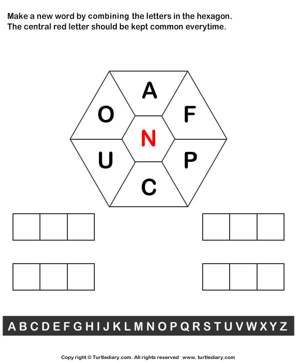 make a word out of letters make words using letters a f p c u o n worksheet turtle 23547 | make words using letters a f p c u o n