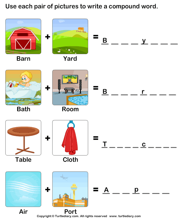 image about Printable Compound Word Games referred to as Developing Substance Phrases Worksheet - Turtle Diary