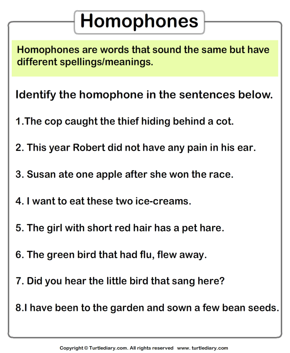 Mark Homophones In The Sentences Worksheet