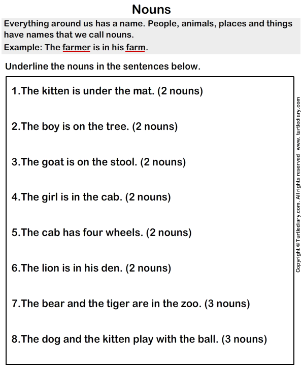 Mark the Nouns in Sentences Worksheet - Turtle Diary