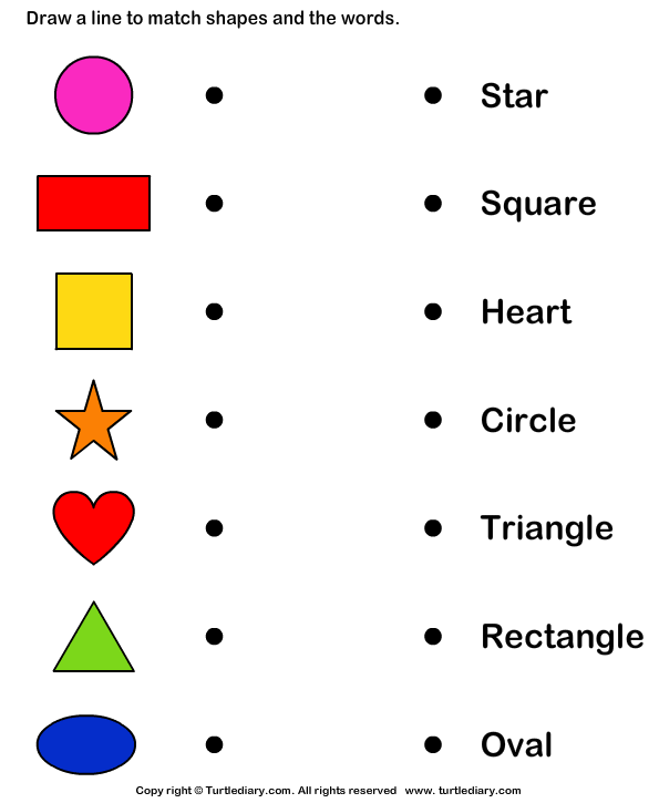 Shapes Worksheets For Kindergarten : Match shapes and names worksheet turtle diary