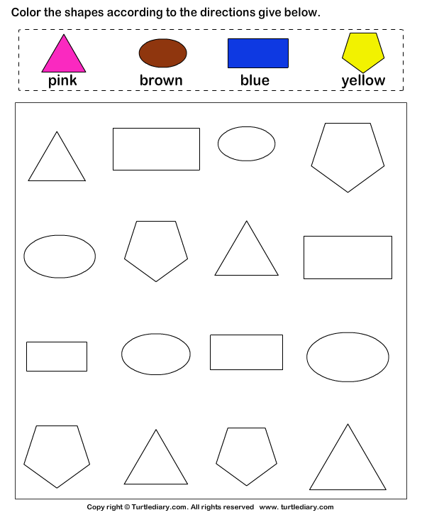 match the colors to their shapes worksheet turtle diary. Black Bedroom Furniture Sets. Home Design Ideas