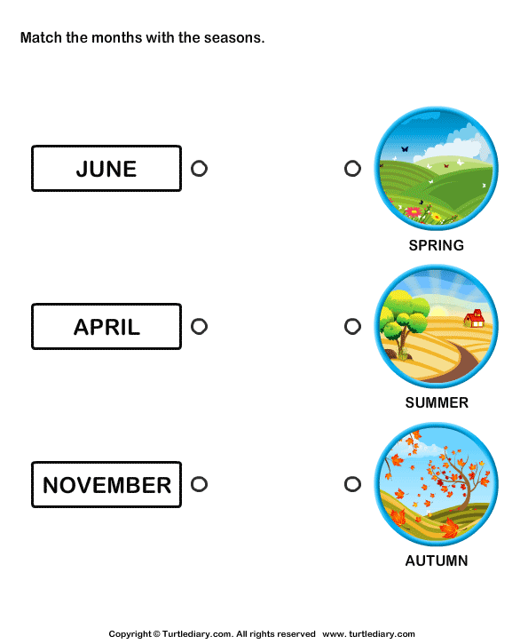 Match the Months with the Seasons Worksheet Turtle Diary – Reasons for Seasons Worksheet