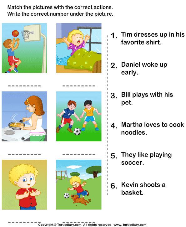 Worksheets Sentence Comprehension Worksheets match the sentences to pictures worksheet turtle diary pictures