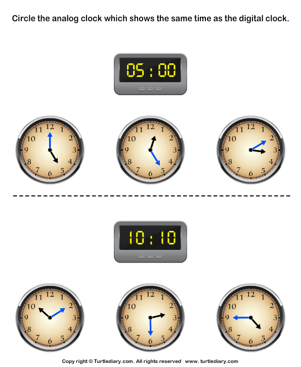 Match Analog and Digital Clocks