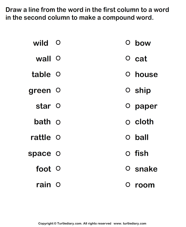 Match Two Words to Make Compound Words Worksheet - Turtle Diary