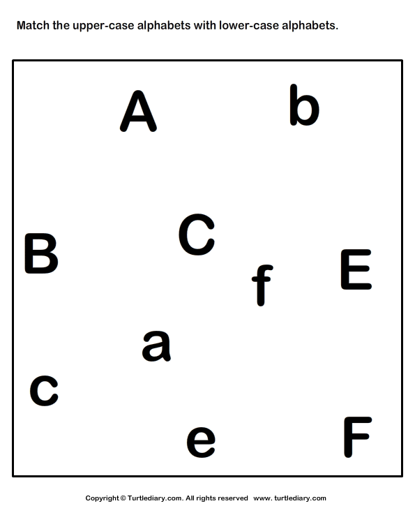 Number Names Worksheets lowercase letter worksheets : Match Uppercase to its Lowercase Letter A to F Worksheet - Turtle ...