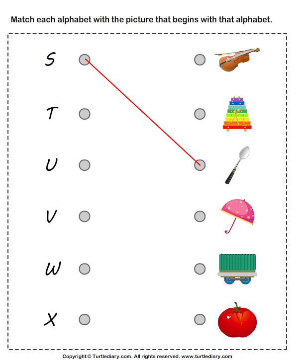 Matching Letters to Pictures S to X Worksheet - Turtle Diary