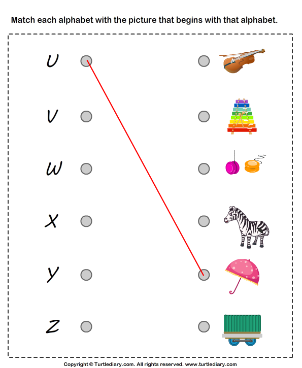 Match Alphabets to the Objects Worksheet - Turtle Diary