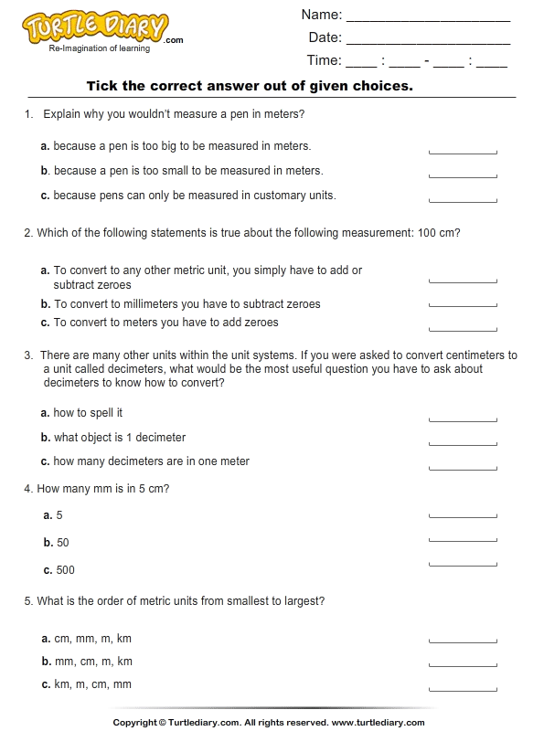 Worksheet Metric Units Of Length Worksheets metric units of length worksheet turtle diary choose the right option