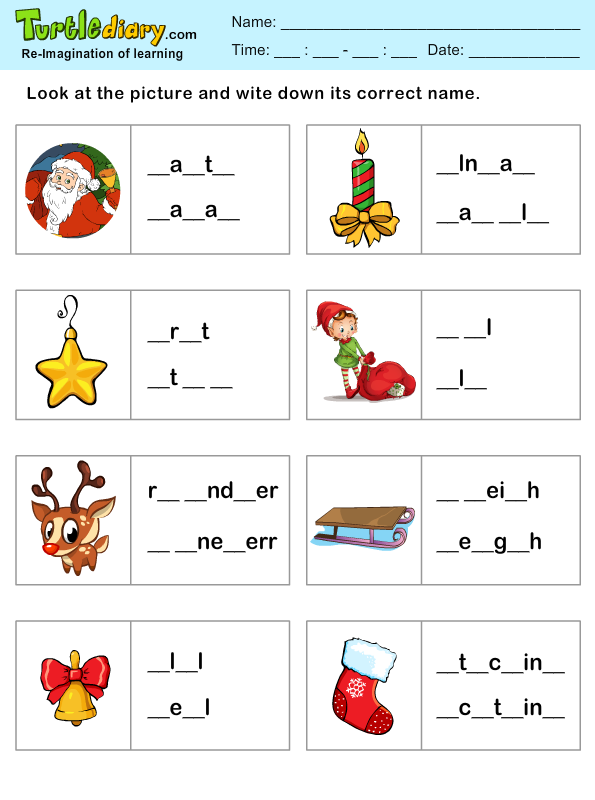 Missing Letters Christmas Spelling Sheet Worksheet - Turtle Diary
