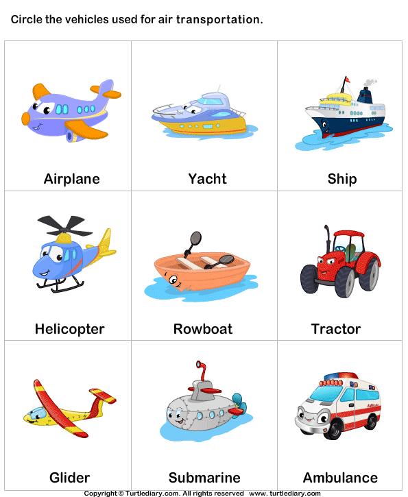 Air Transport Worksheet - Turtle Diary