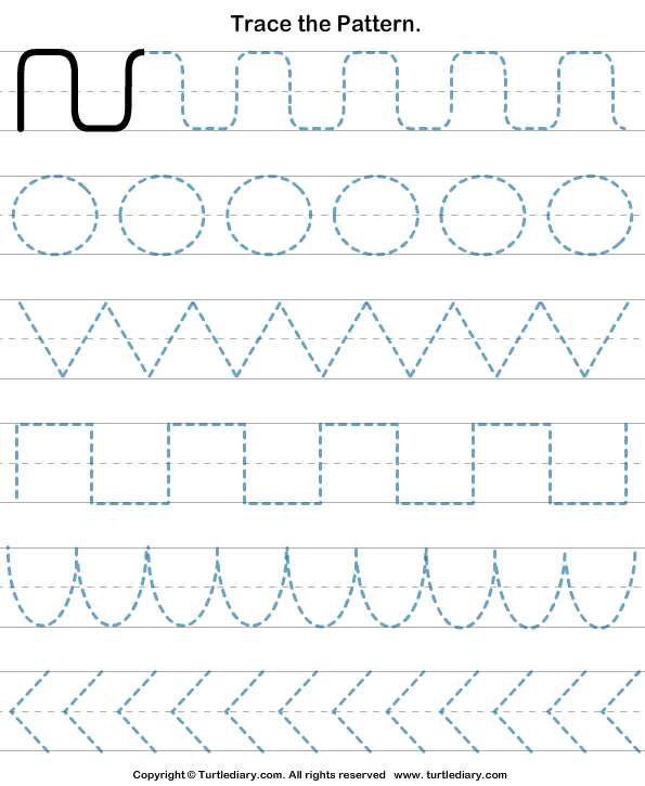 math worksheet : pattern tracing worksheet  turtle diary : Free Pattern Worksheets For Kindergarten