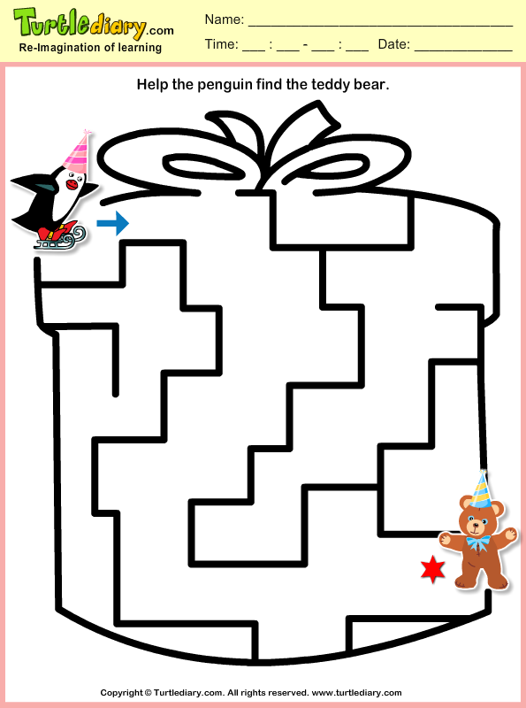 Penguin Maze Worksheet Turtle Diary