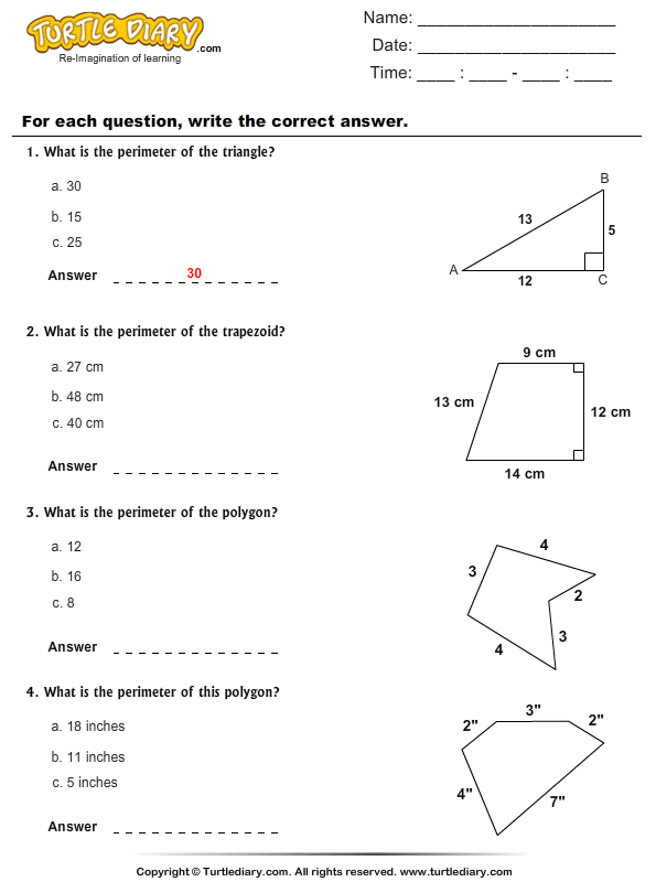 Perimeter Of Polygons Worksheet Turtle Diary