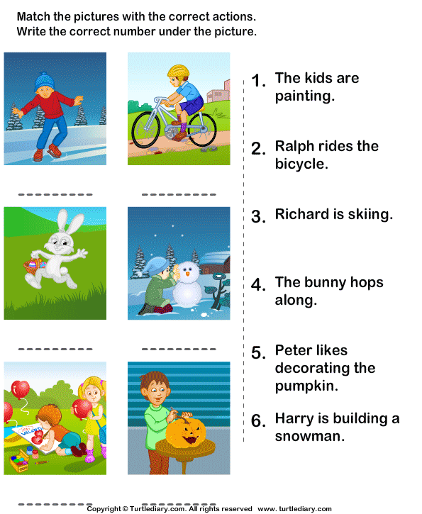 picture and sentences with correct actions worksheet