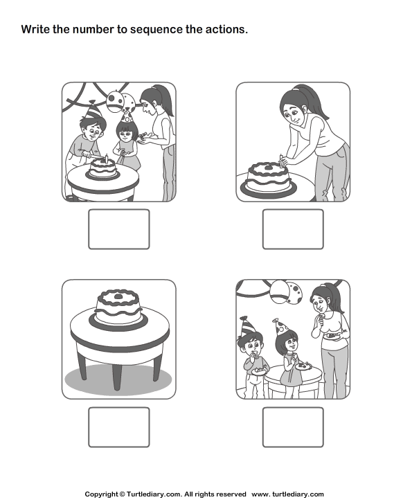 picture sequencing birthday party worksheet