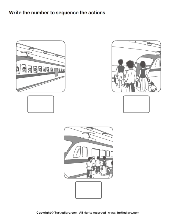 Picture Sequencing People Getting into the Train Worksheet – Sequencing Worksheets
