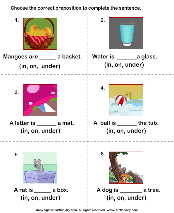 Prepositions of Place In On Under Worksheet Turtle Diary – Prepositions of Place Worksheet