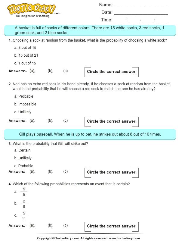 Probability on Baseball Worksheet - Turtle Diary