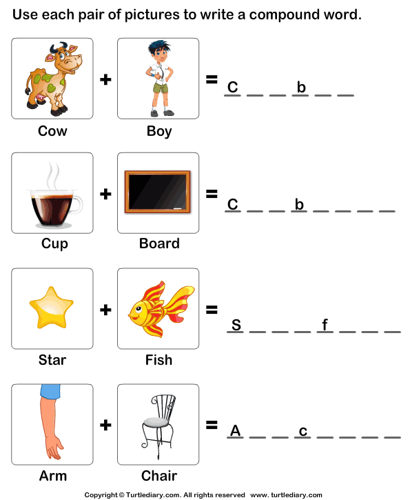 Printable Compound Word Worksheets : Put the words shown by pictures together worksheet